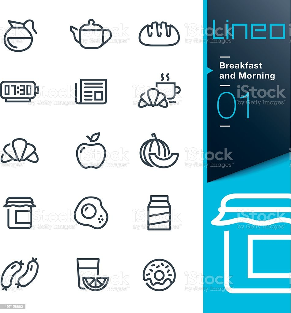 Lineo - Breakfast and Morning outline icons vector art illustration