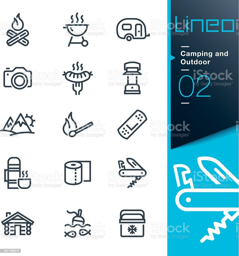 Lineo - Camping and Outdoor outline icons royalty-free stock vector art