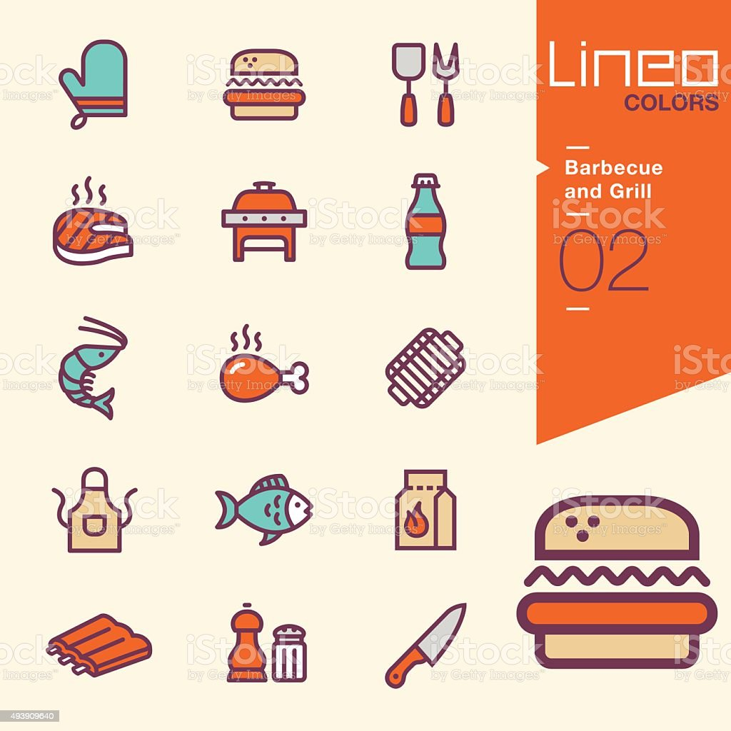 Lineo Colors - Barbecue and Grill icons vector art illustration