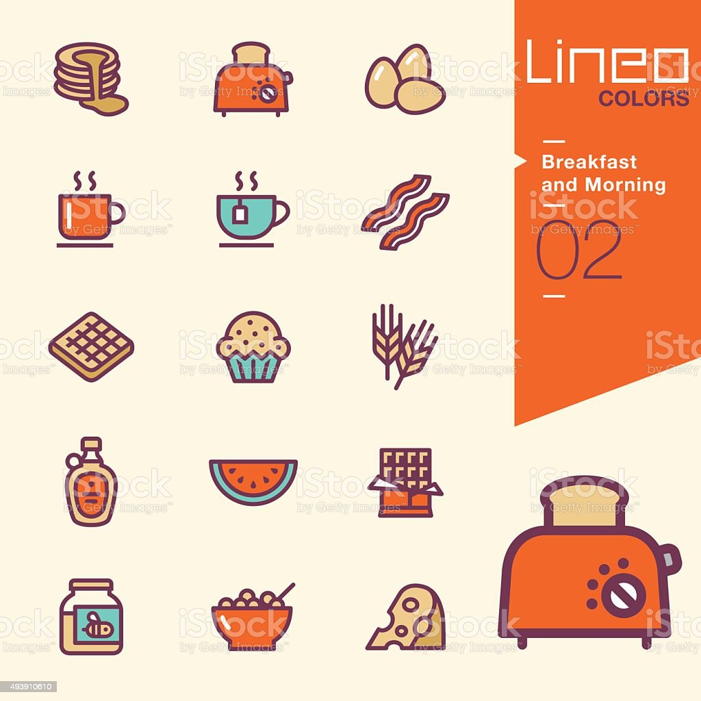 Lineo Colors - Breakfast and Morning icons vector art illustration