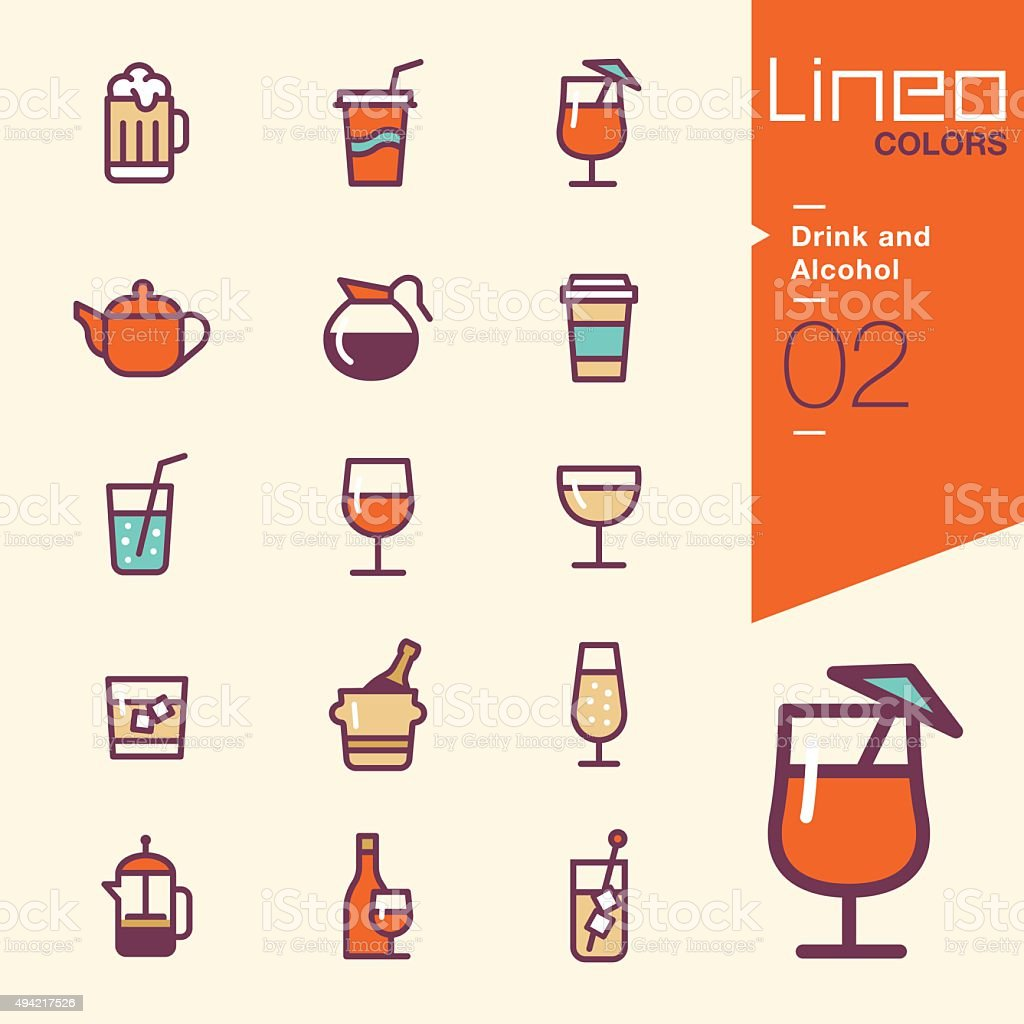 Lineo Colors - Drink and Alcohol icons vector art illustration
