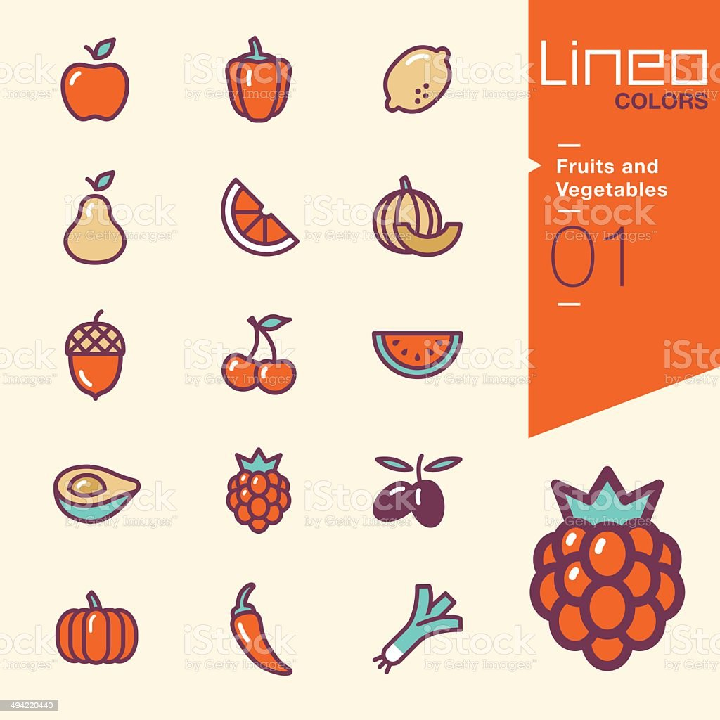 Lineo Colors - Fruits and Vegetables icons vector art illustration