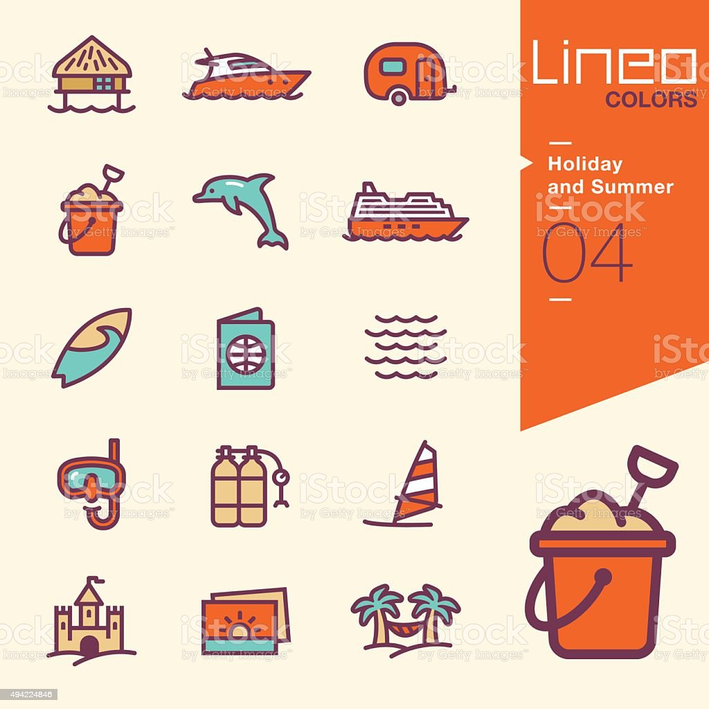 Lineo Colors - Holiday and Summer icons vector art illustration