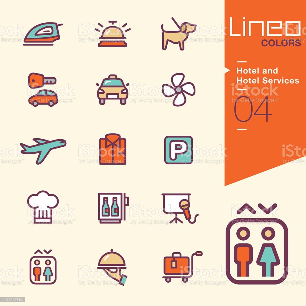 Lineo Colors - Hotel and Hotel Services icons vector art illustration