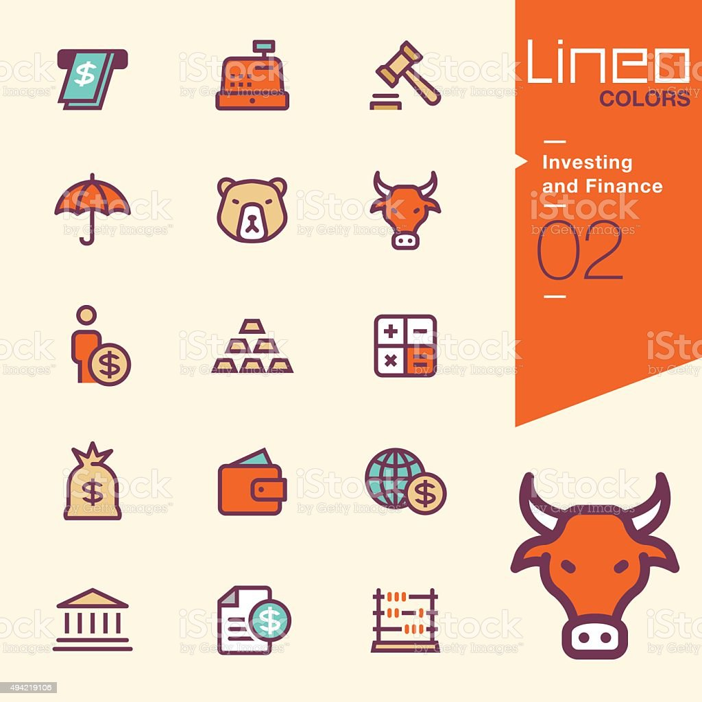 Lineo Colors - Investing and Finance icons vector art illustration