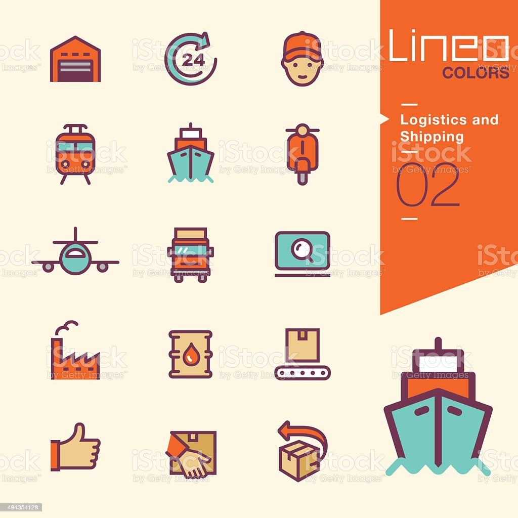 Lineo Colors - Logistics and Shipping icons vector art illustration