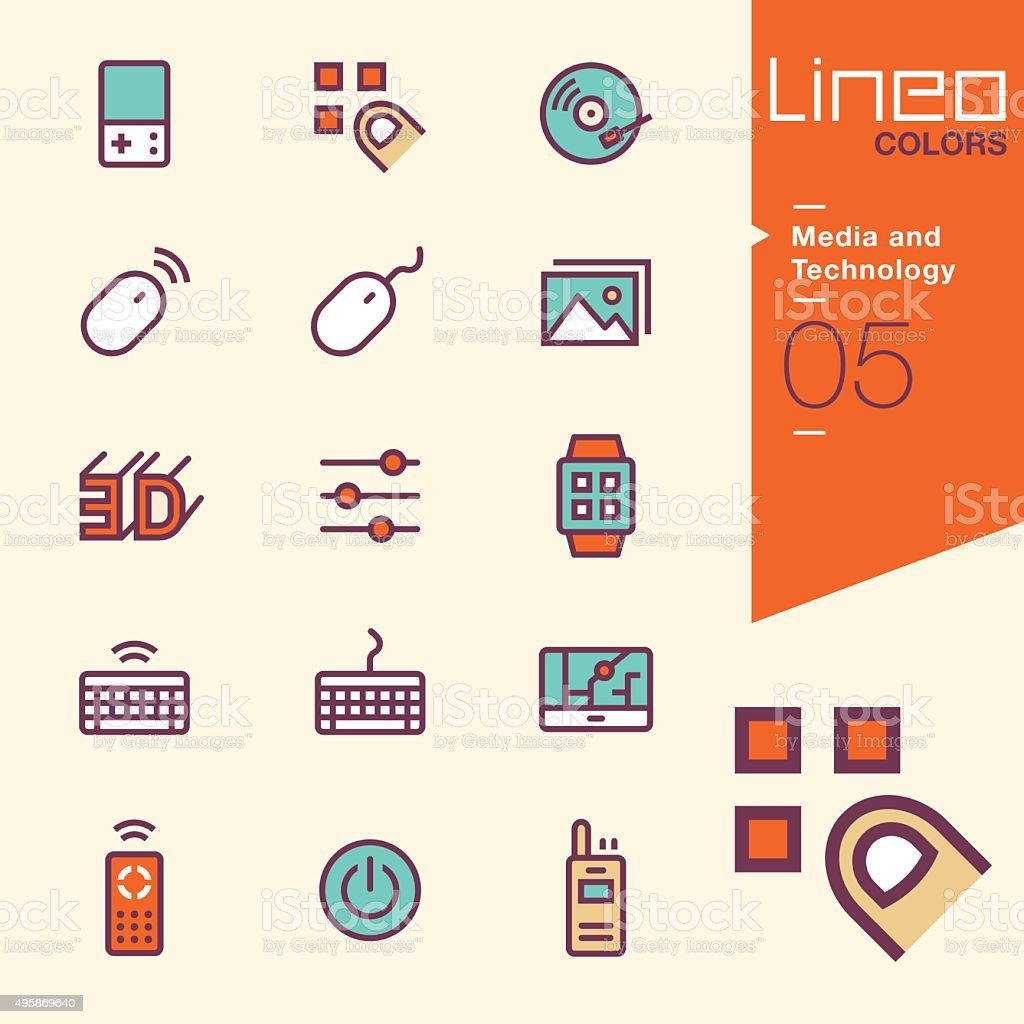 Lineo Colors - Media and Technology icons vector art illustration