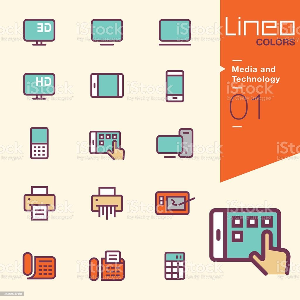 Lineo Colors - Media and Technology outline icons vector art illustration