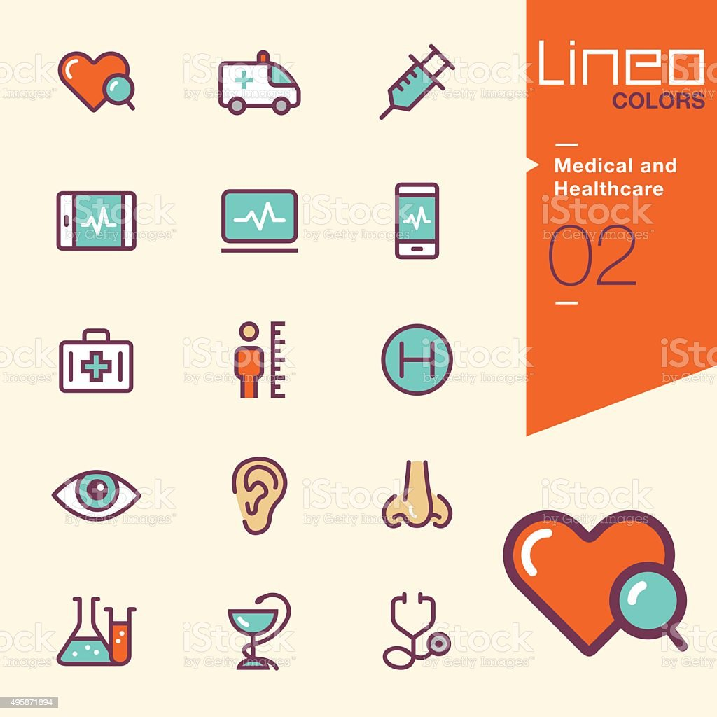 Lineo Colors - Medical and Healthcare icons vector art illustration