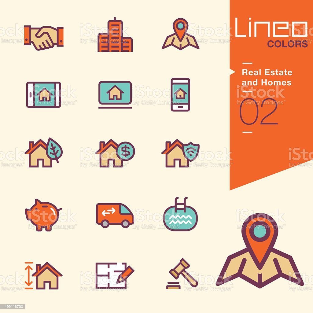 Lineo Colors - Real Estate and Homes icons vector art illustration