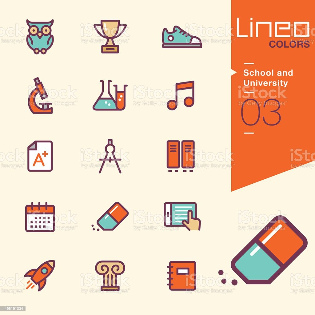 Lineo Colors - School and University icons vector art illustration