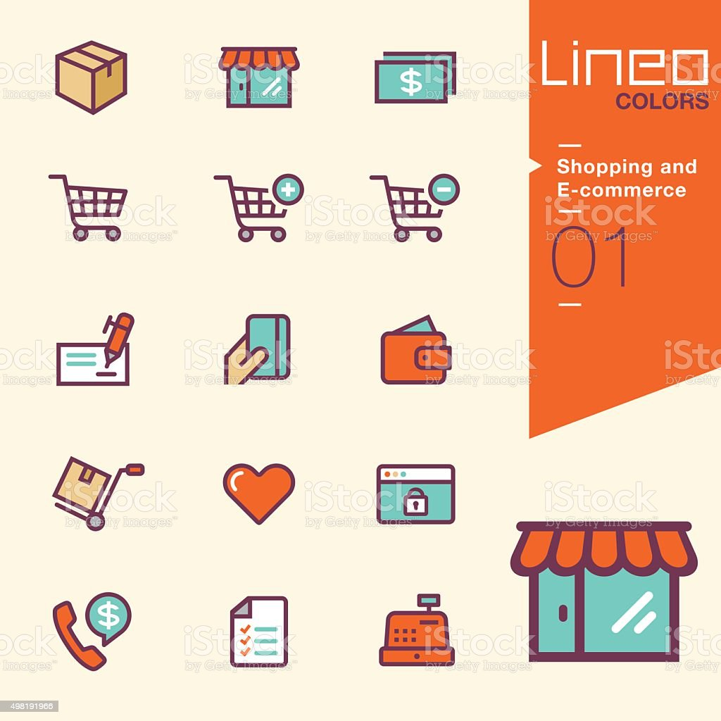 Lineo Colors -  Shopping and E-commerce icons vector art illustration