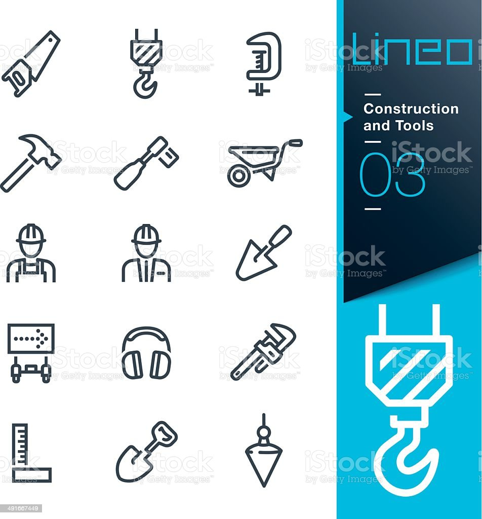 Lineo - Construction and Tools outline icons royalty-free stock vector art