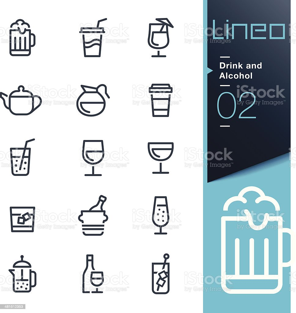 Lineo - Drink and Alcohol outline icons vector art illustration