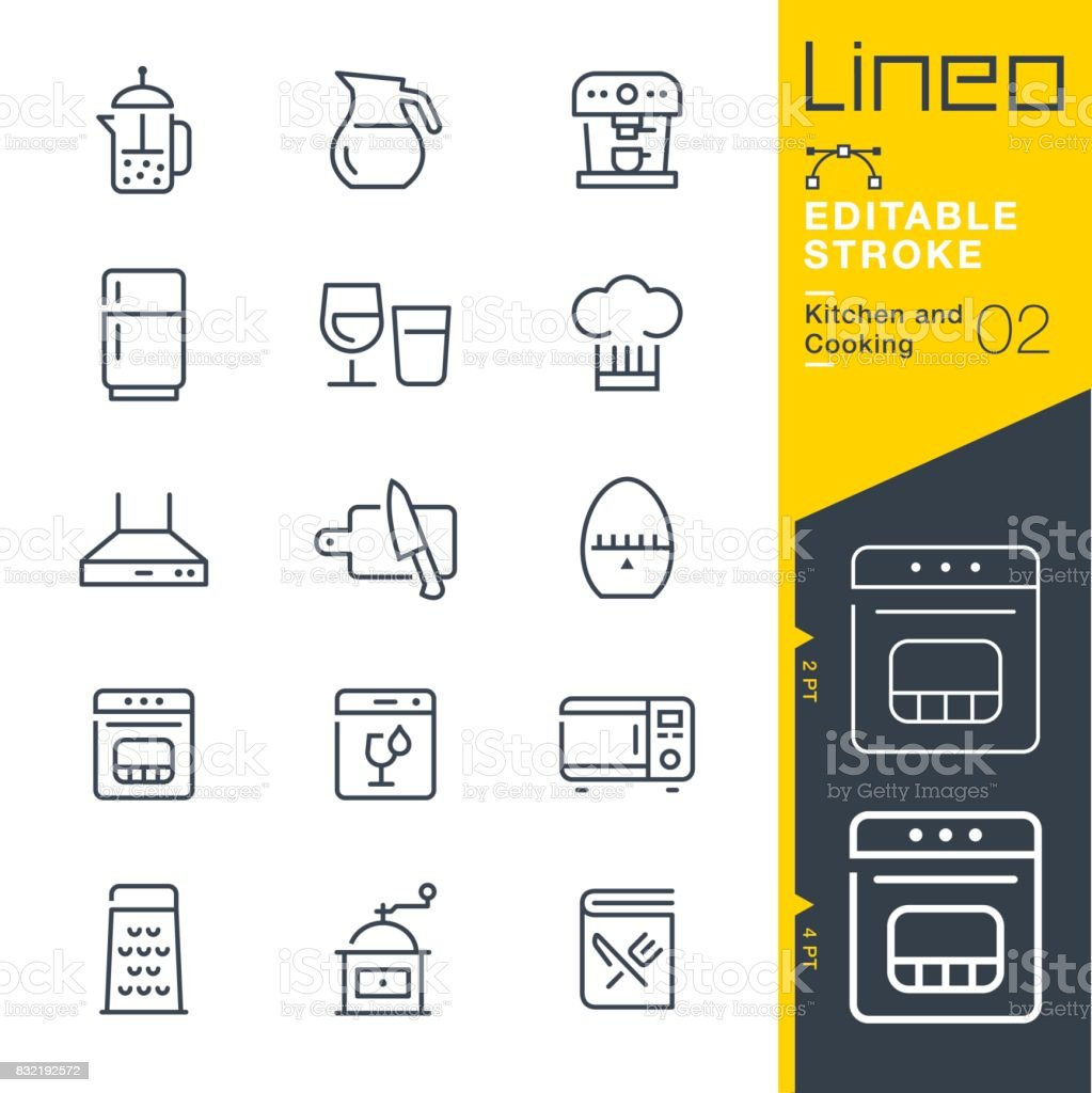 Lineo Editable Stroke - Kitchen and Cooking line icons vector art illustration