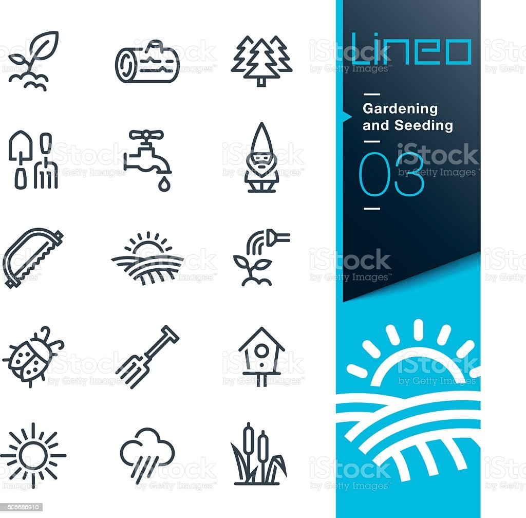 Lineo - Gardening and Seeding line icons vector art illustration