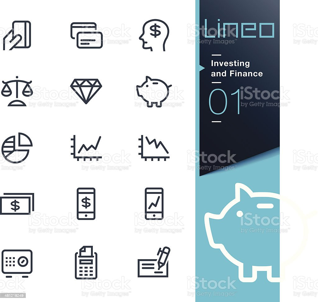 Lineo - Investing and Finance outline icons vector art illustration