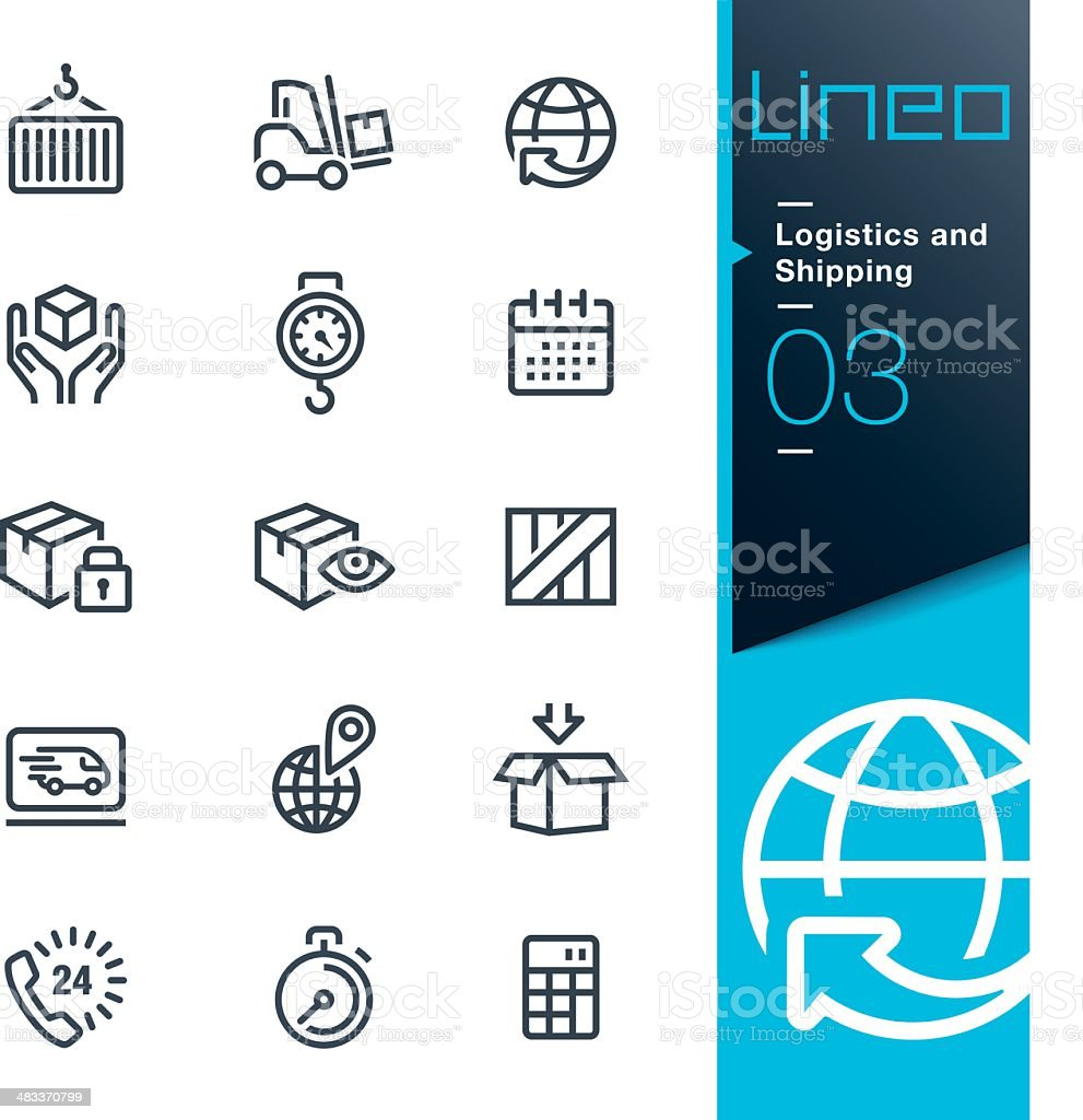 Lineo - Logistics and Shipping outline icons vector art illustration