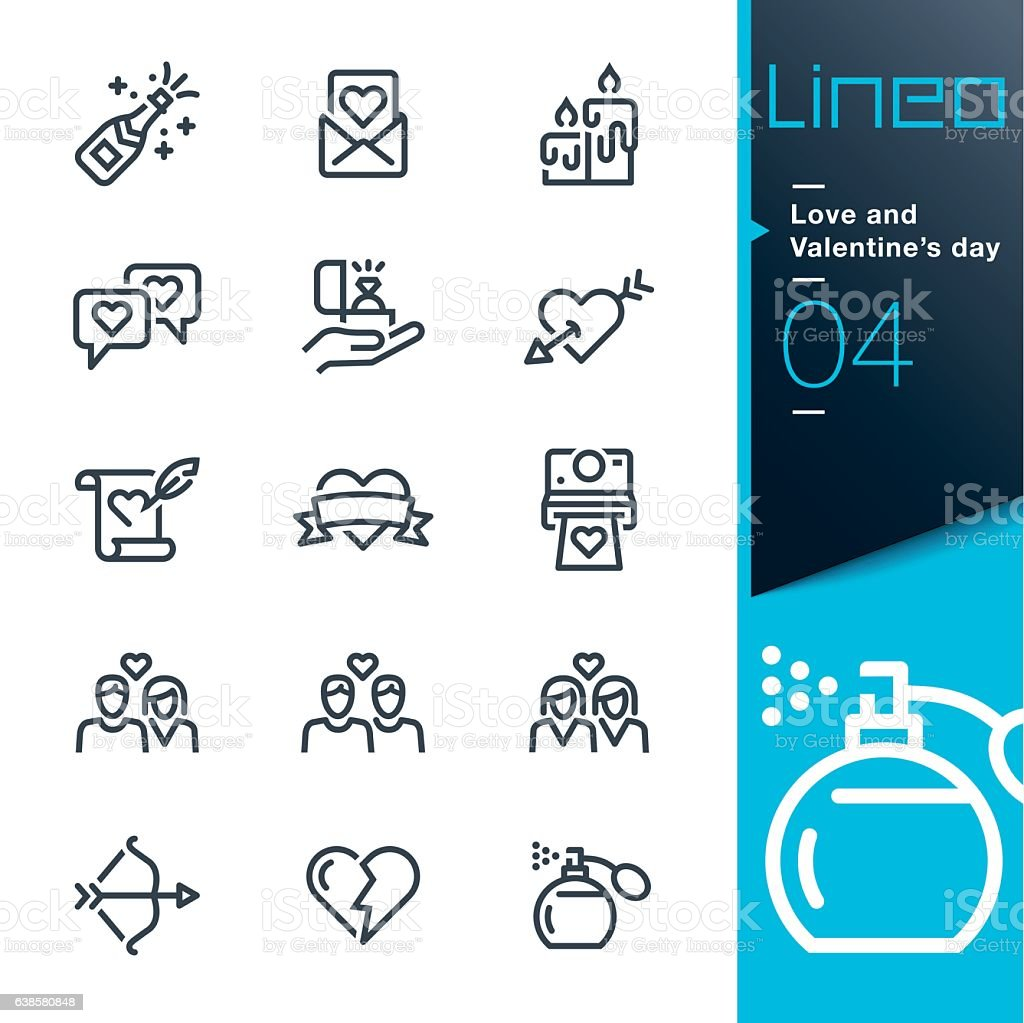 Lineo - Love and Valentine's day line icons vector art illustration