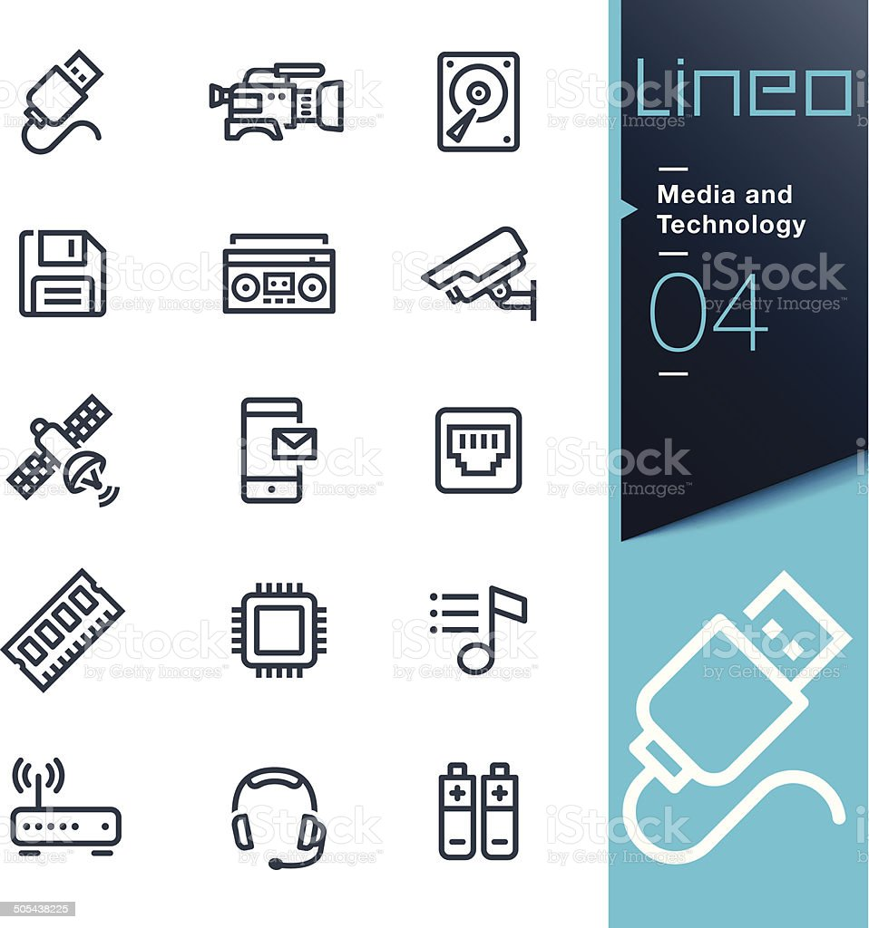 Lineo - Media and Technology outline icons vector art illustration