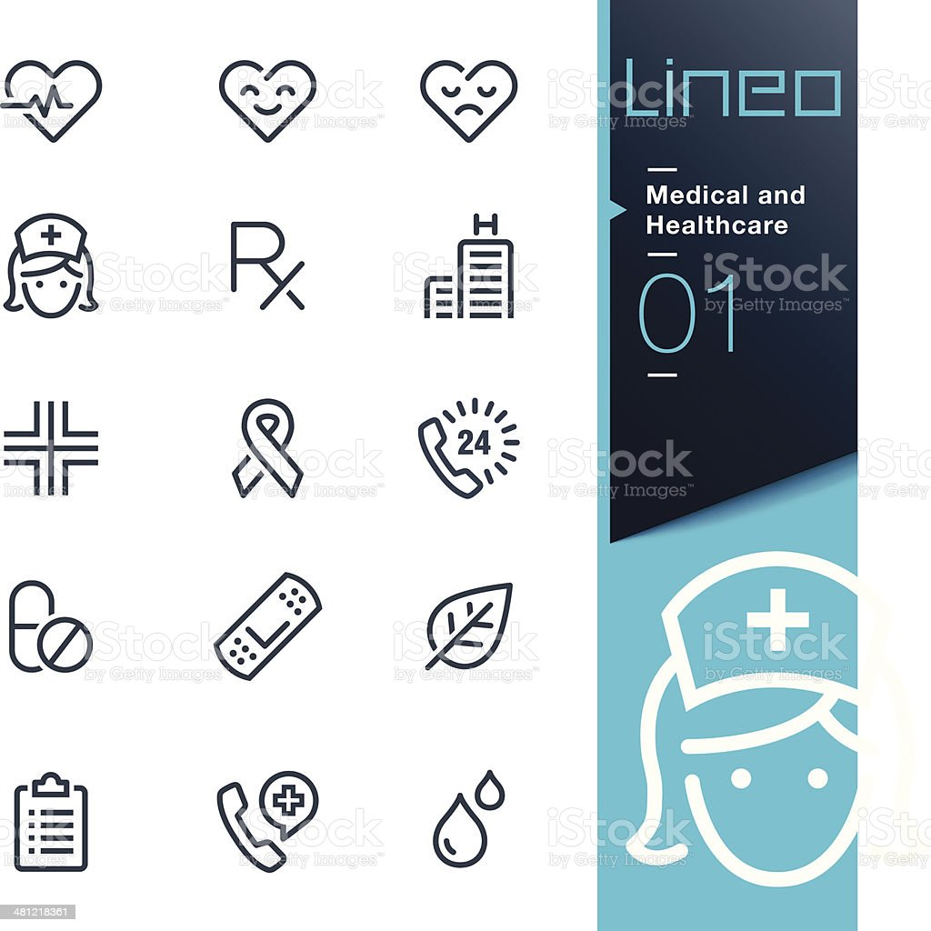 Lineo - Medical and Healthcare outline icons vector art illustration