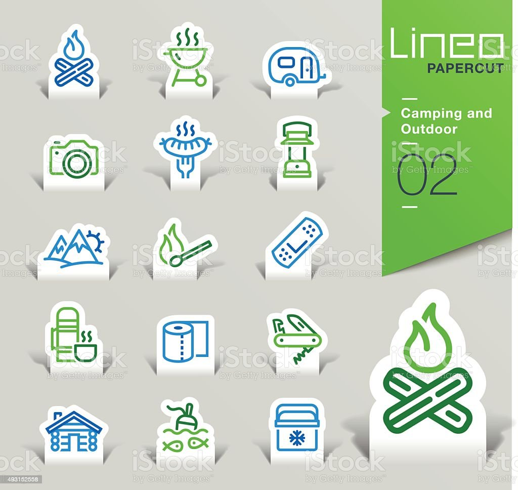 Lineo Papercut - Camping and Outdoor outline icons vector art illustration