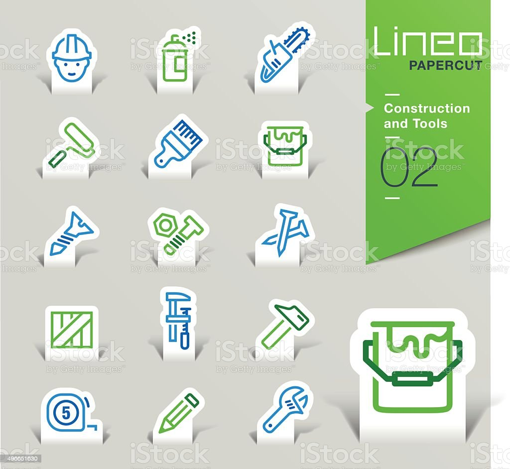 Lineo Papercut - Construction and Tools outline icons vector art illustration