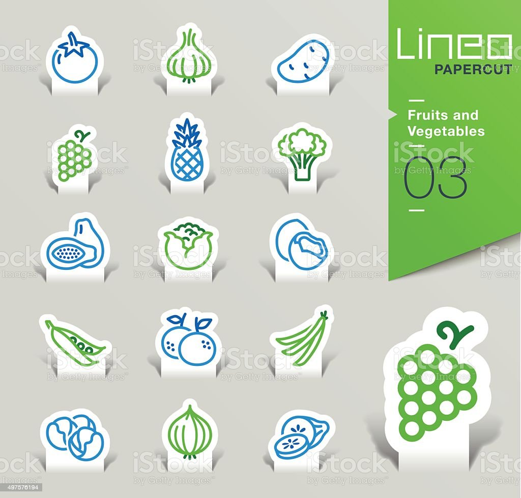 Lineo Papercut - Fruits and Vegetables outline icons vector art illustration