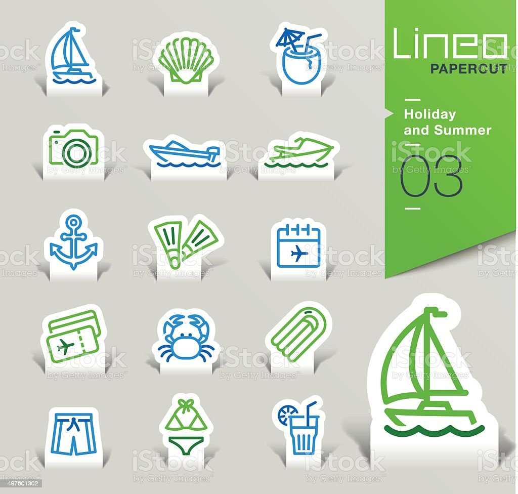 Lineo Papercut - Holiday and Summer outline icons vector art illustration