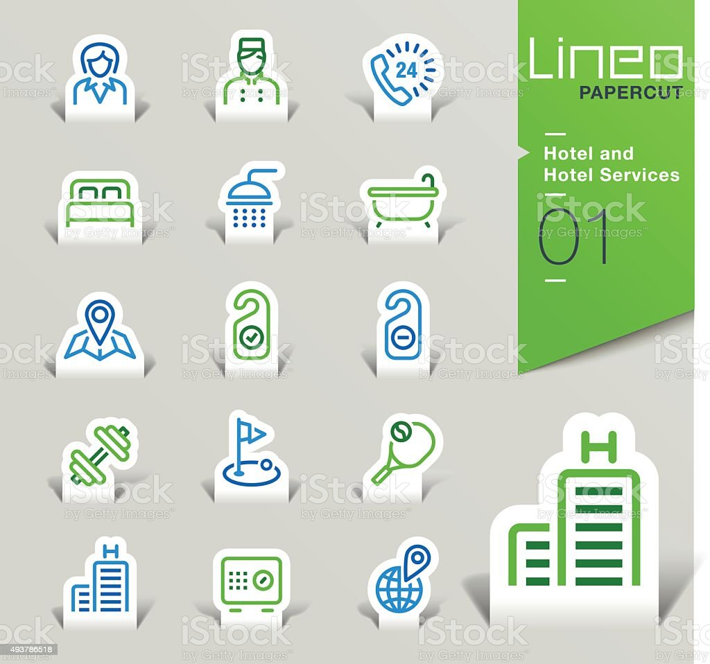 Lineo Papercut - Hotel and Hotel Services outline icons vector art illustration