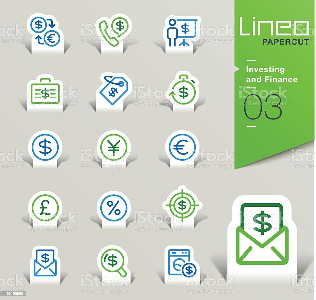 Lineo Papercut - Investing and Finance outline icons vector art illustration