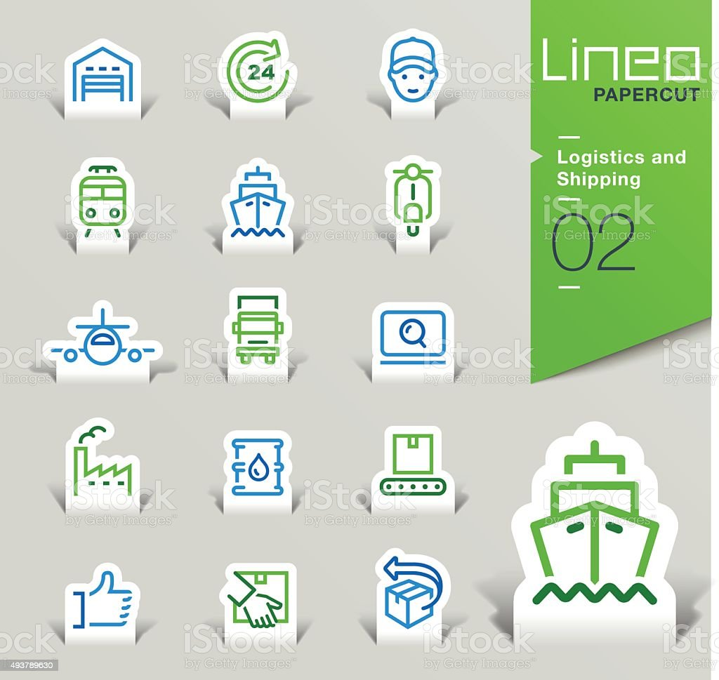 Lineo Papercut - Logistics and Shipping outline icons vector art illustration