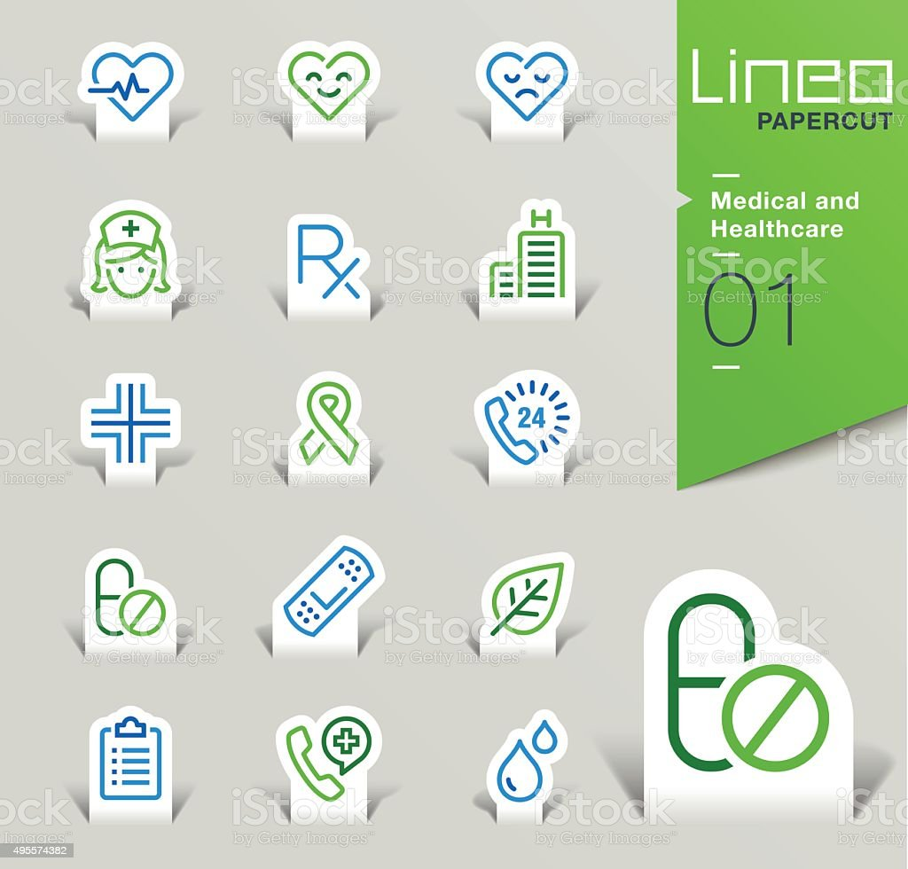 Lineo Papercut - Medical and Healthcare outline icons vector art illustration