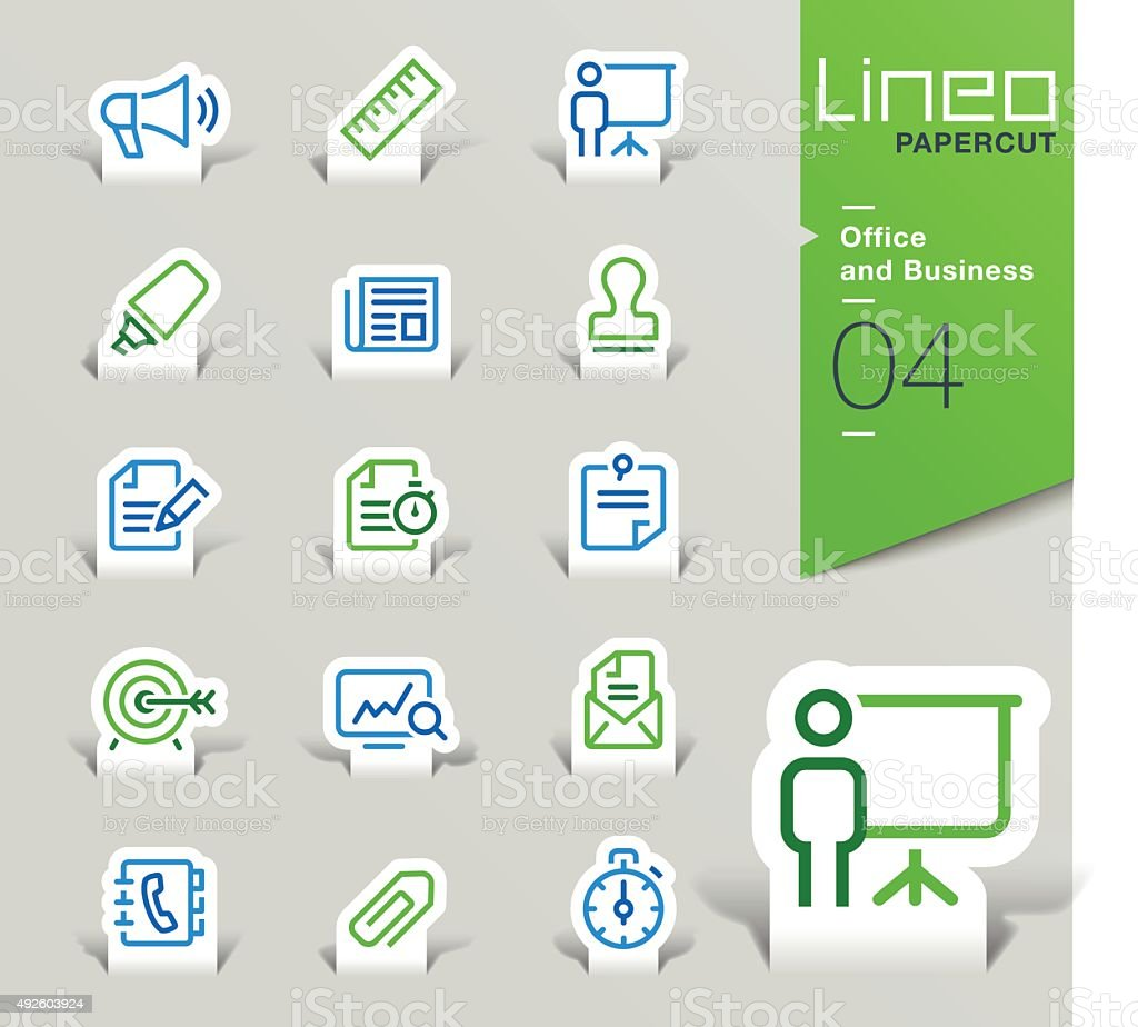 Lineo Papercut - Office and Business outline icons vector art illustration