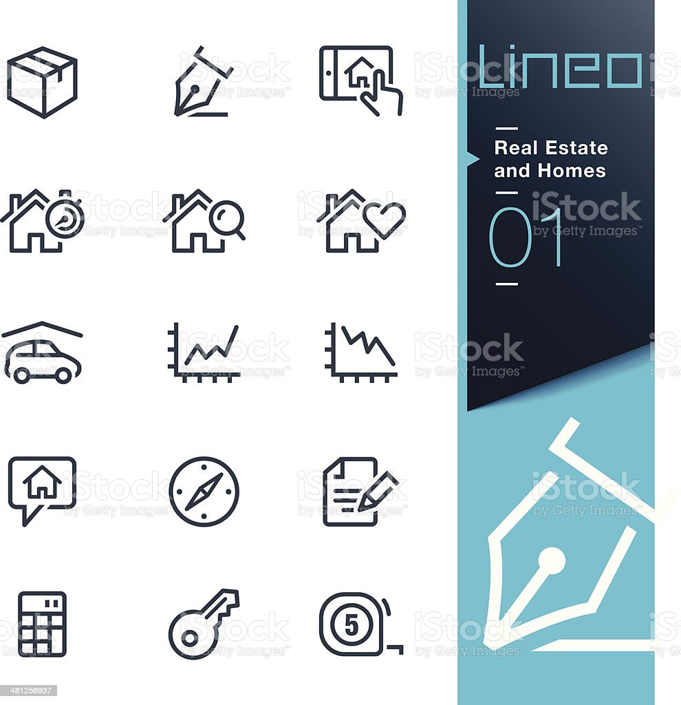 Lineo - Real Estate and Homes outline icons vector art illustration