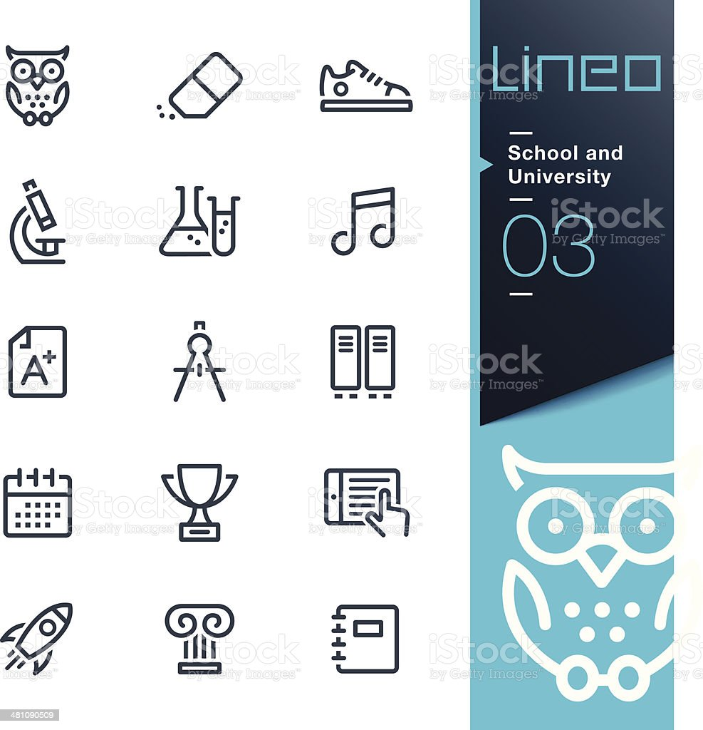 Lineo - School and University outline icons vector art illustration