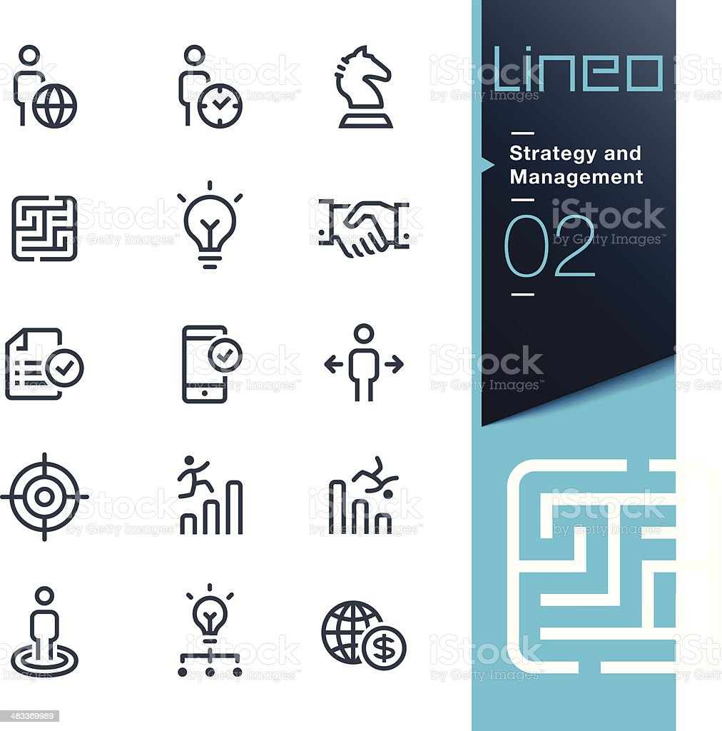 Lineo - Strategy and Management outline icons vector art illustration