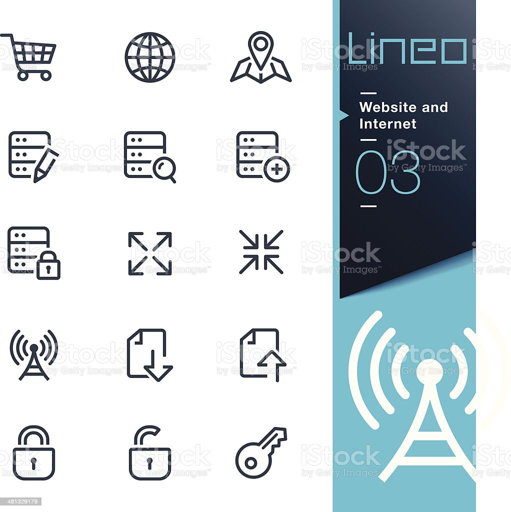 Lineo - Website and Internet outline icons vector art illustration