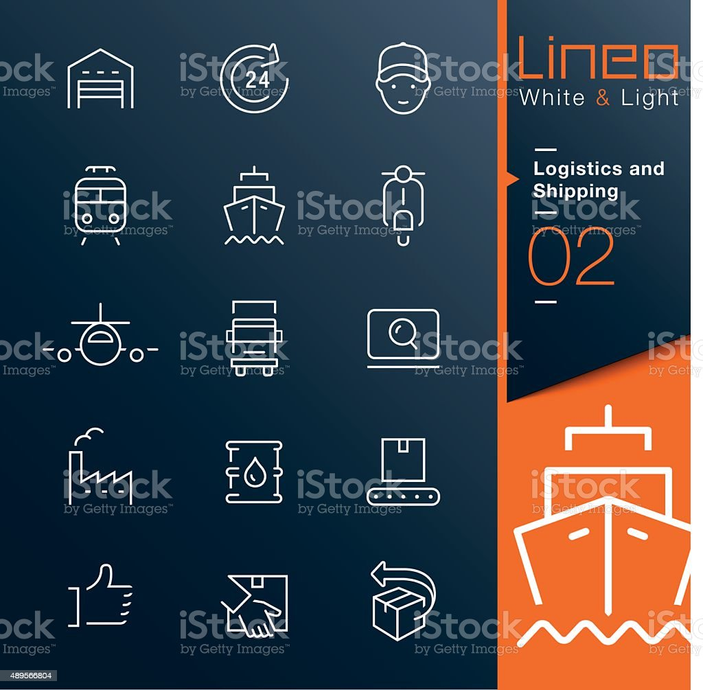 Lineo White & Light - Logistics and Shipping outline icons vector art illustration