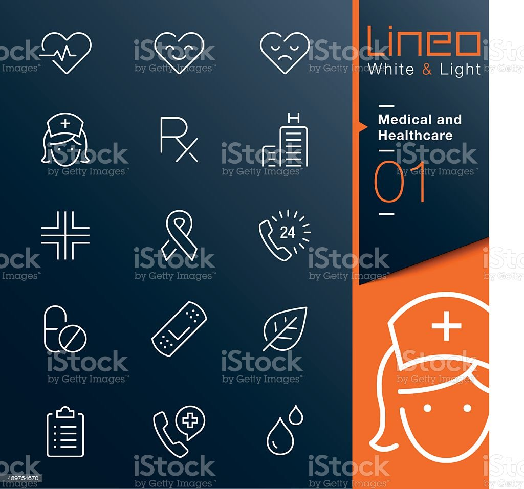 Lineo White & Light - Medical and Healthcare outline icons vector art illustration