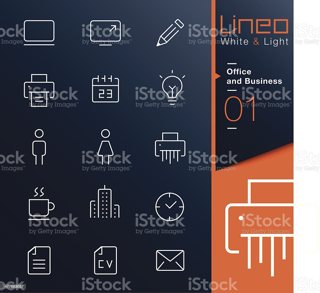 Lineo White & Light - Office and Business outline icons royalty-free stock vector art