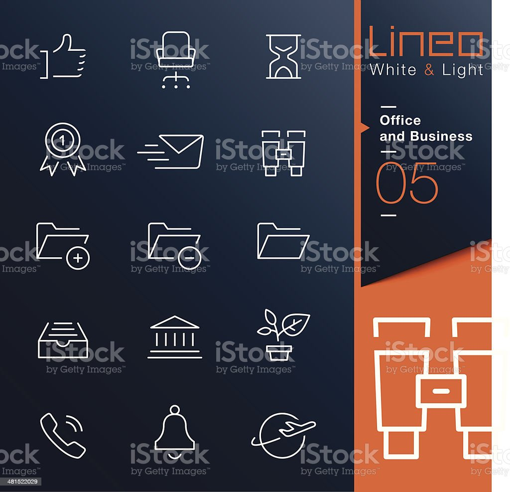 Lineo White & Light - Office and Business outline icons vector art illustration
