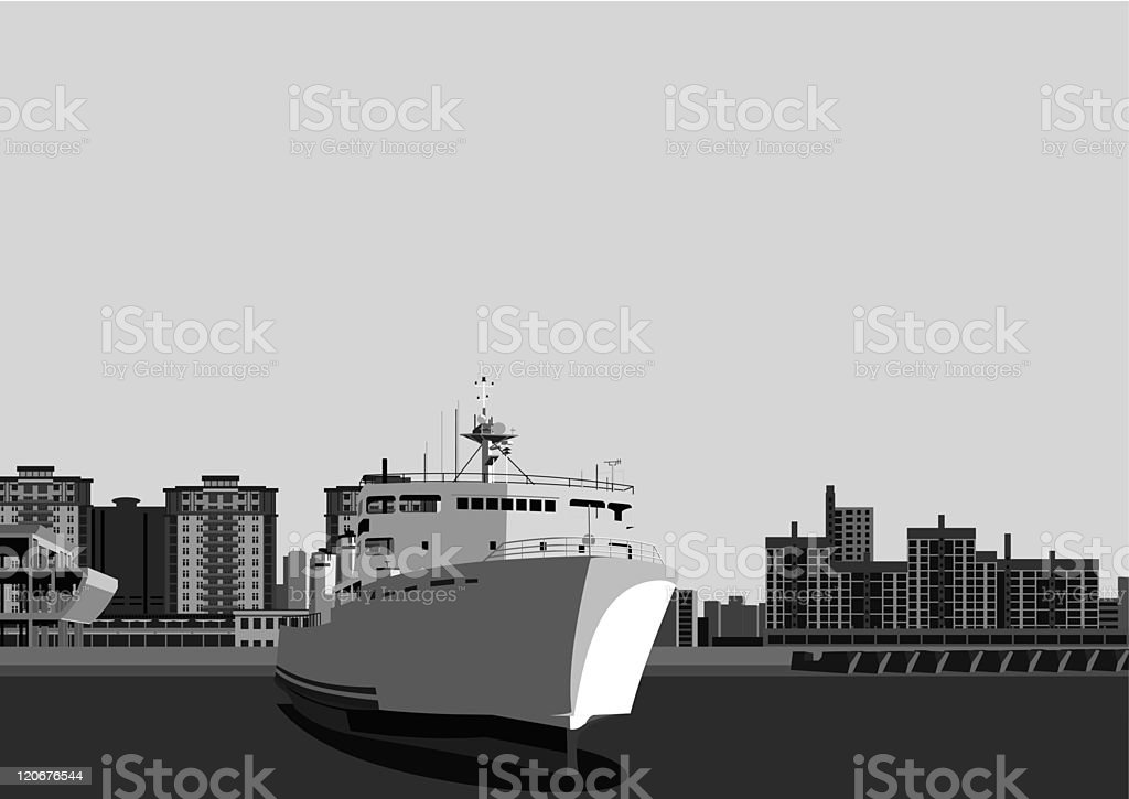 liner and city vector art illustration