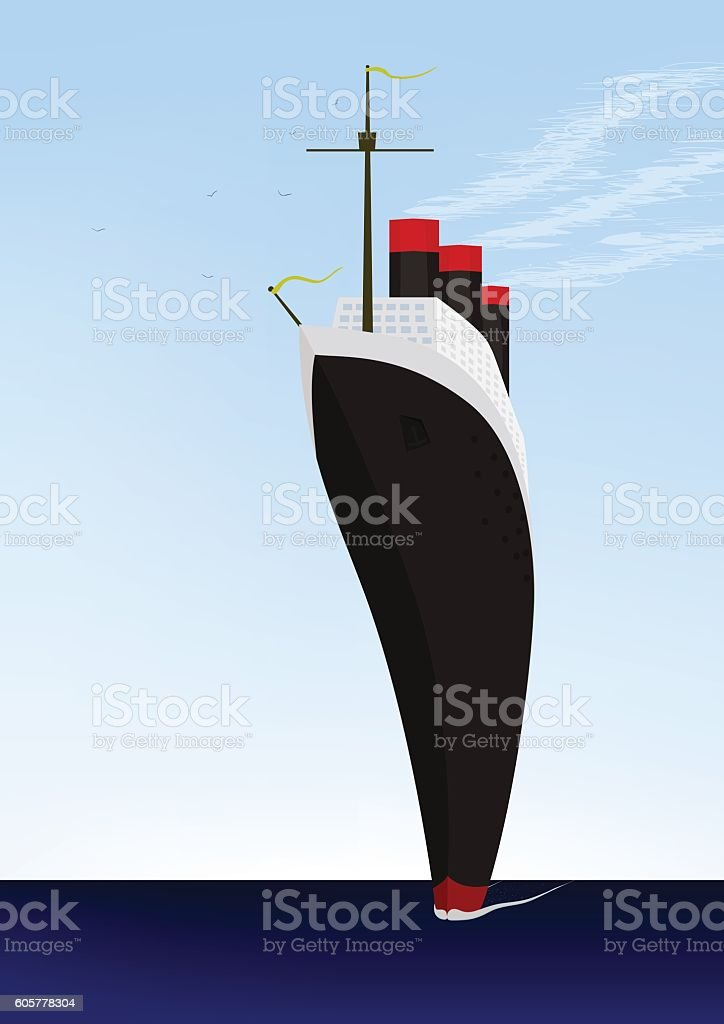 Liner ocean vector art illustration