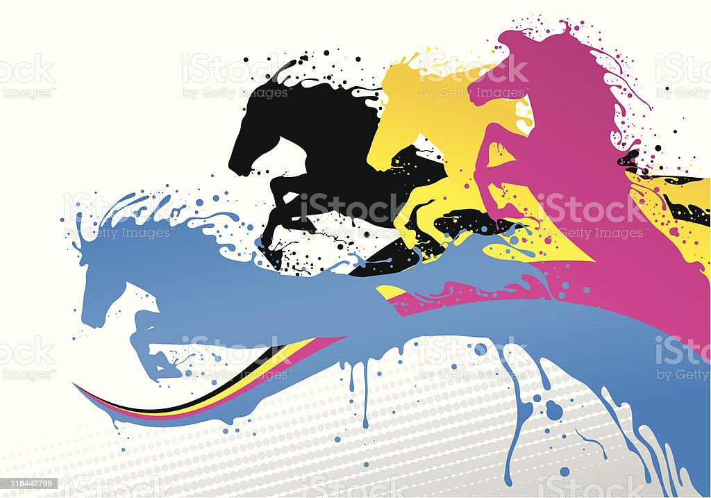 CMYK lines and horses vector art illustration
