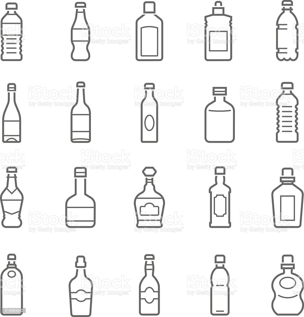 Lines icon set - bottle and beverage vector art illustration