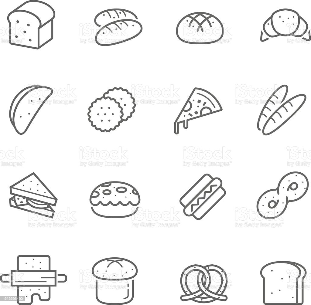 Lines icon set - bread and bakery vector art illustration