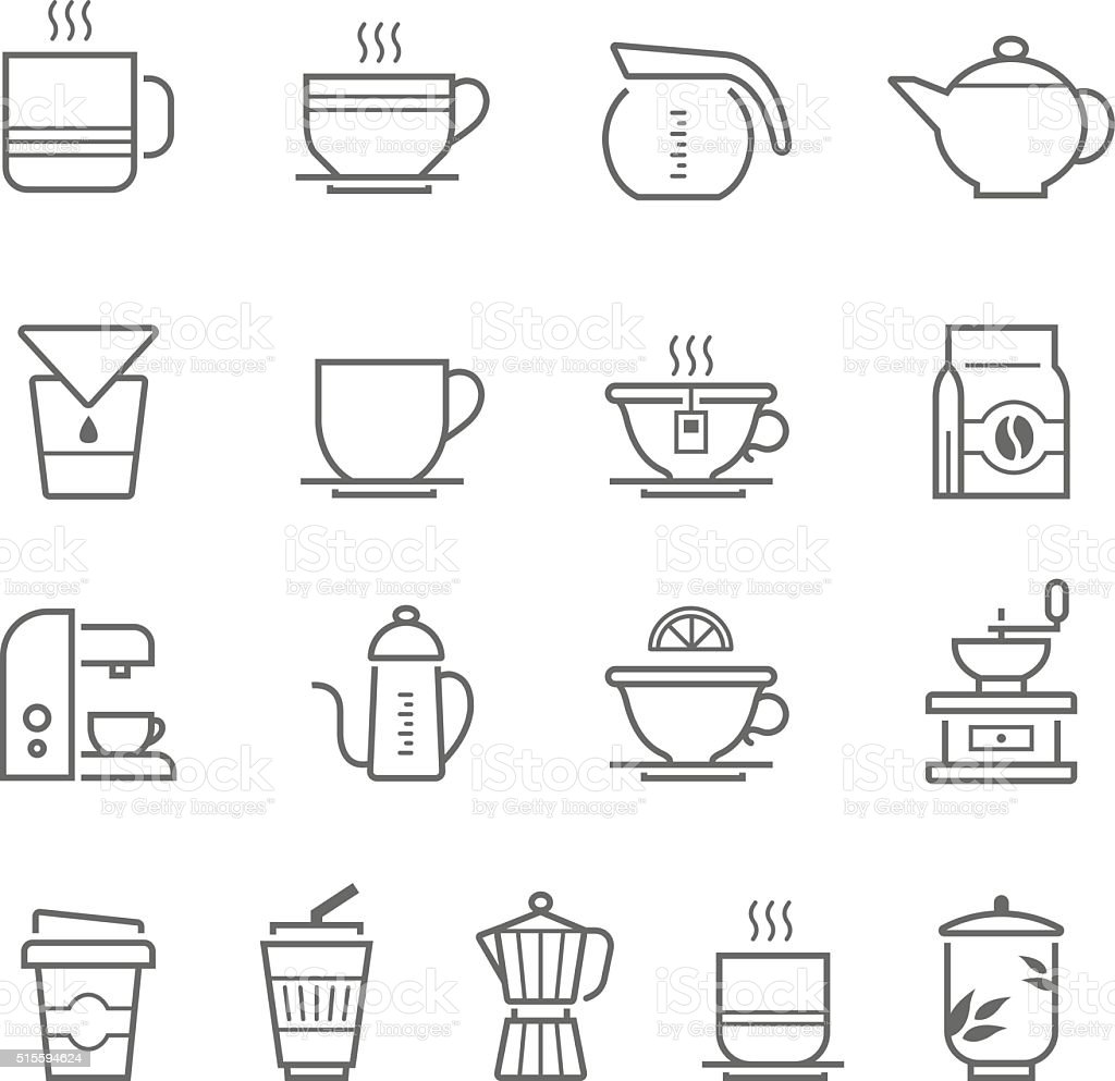 Lines icon set - coffee and tea vector art illustration