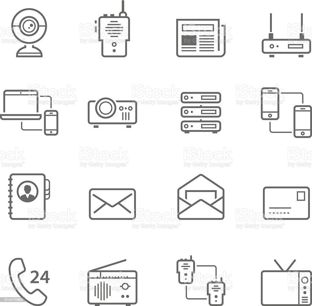 Lines icon set - communication devices vector art illustration