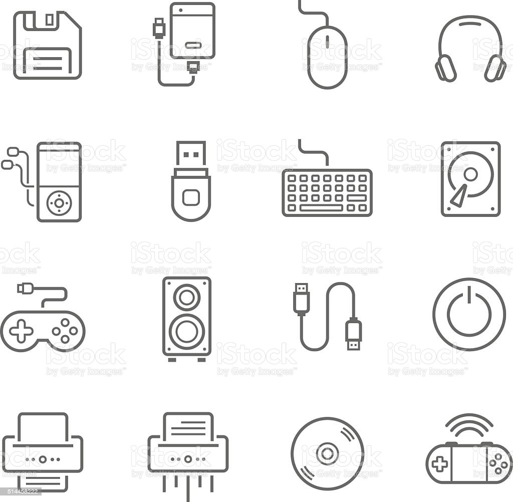 Lines icon set - devices accessory vector art illustration